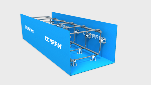 Image of a Corram beam formwork made from polypropylene corrugated sheets