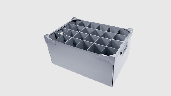 Image of a Corram box divider and fittings made from polypropylene corrugated sheets