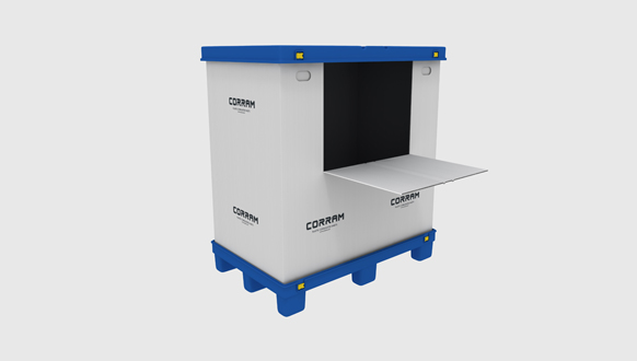 Image of a Corram foldable pallet box made from polypropylene corrugated sheets