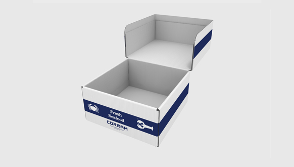 Image of a Corram product packaging as sea food box made from polypropylene corrugated sheets